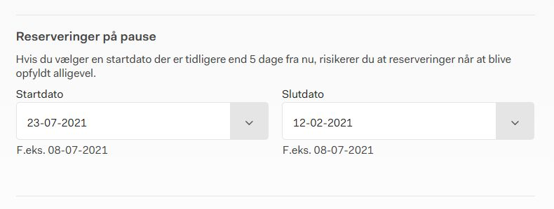 Screenshot af siden hvor du kan sætte dine reserveringer på pause