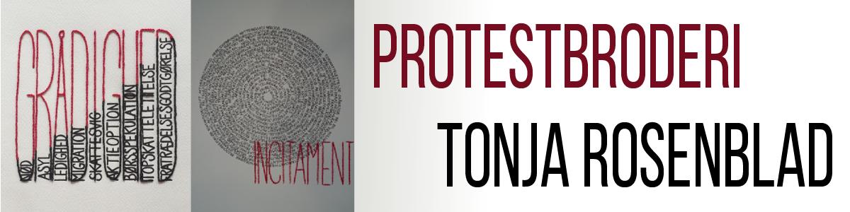 Protestbroderi - udstilling på Holstebro Bibliotek af Tonja Rosenblad